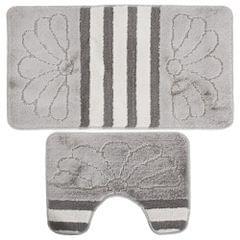2 Piece Stripe & Flower Pattern Design Bath & Pedestal Bathroom Mat Set