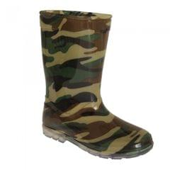 Mudrocks Childrens Boys Camo Pattern PVC Wellington Boots
