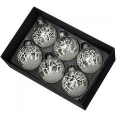 6er-Set Christbaumkugeln aus Glas mit Weihnachtsszene