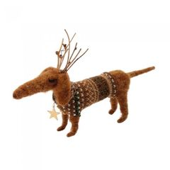 CGB Giftware Felt Dog With Antlers Decoration