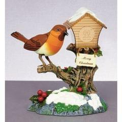 Christmas Shop - Maison d'oiseau décorative avec un rouge-gorge dansant