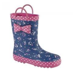 Woodland Childrens Girls Bow Trim Pull On Wellington Boots