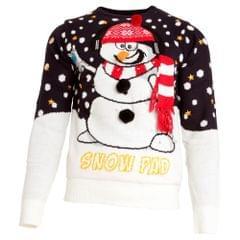 Brave Soul Herren Weihnachtspullover mit 3D-Schneemann, gestrickter Pullover mit Beleuchtung