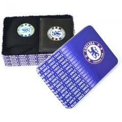 Herren Geschenk-Set mit Chelsea-FC-Geldbeutel und Socken, in Dose
