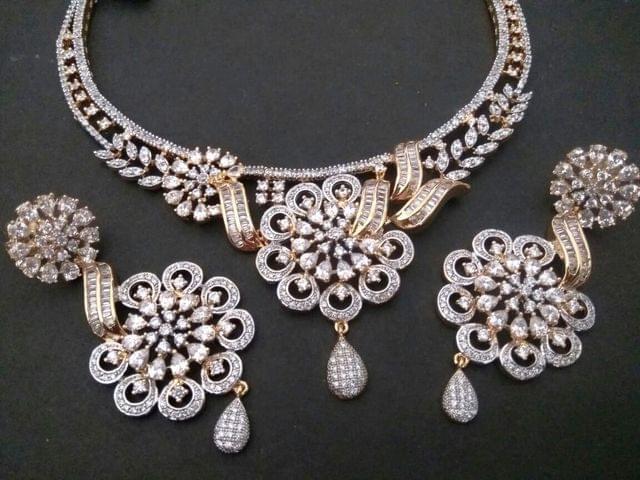 Beautiful American Diamond necklace set - 1 year warranty