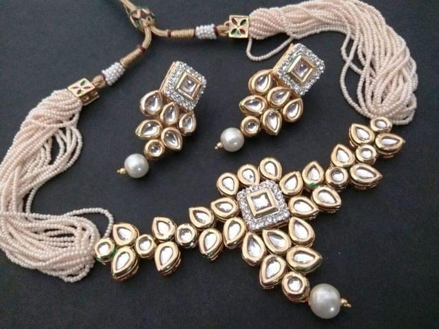 High Class Kundan Necklace  with semi precious stone- with an year warranty