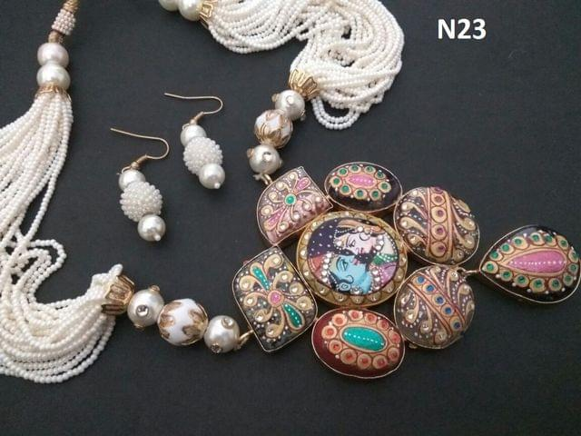 Beautiful Hand Painted necklace with warranty- 1 year