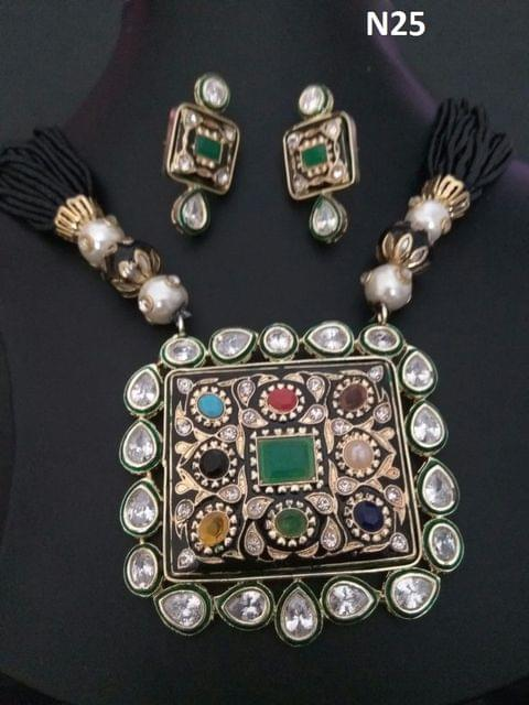 Precious Necklace studded with Kundan Stone, Hand-worked, Precious Stones and beautiful pearl chain- 1 year warranty