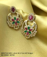 Gold plated earring wth american diamond stones .Base metal : Brass