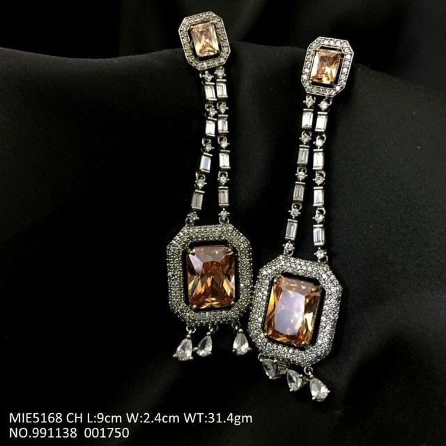 American Diamond Dangler with semi precious stone and pearl- 1 year warranty