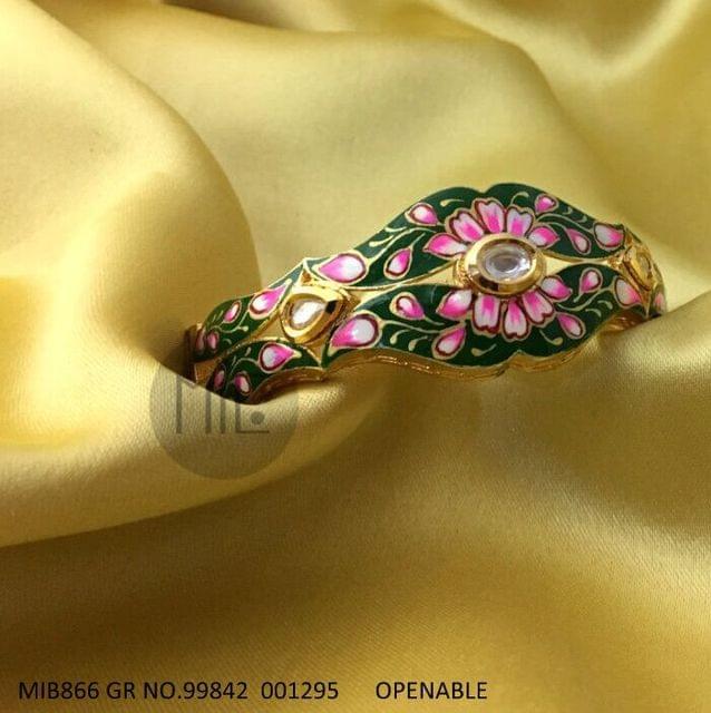 Handpainted Kundan Openable Bangle. Size - 2.4