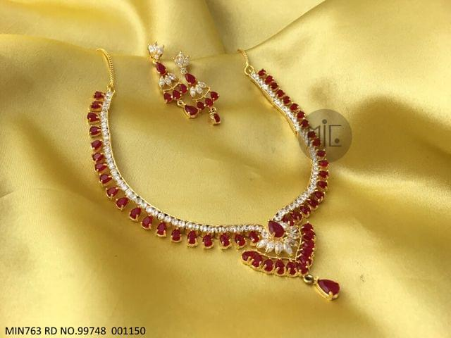 Gold plated, Beautiful American Diamond Necklace Set with an year warranty