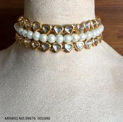 Beautiful Kundan necklace/choker with pearls - 1 year warranty