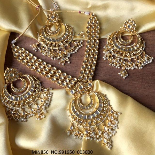 Kundan Necklace with pair of jhumka and Mangtika - 1 year warranty
