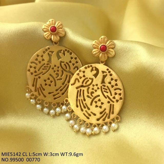 Buy beautiful brass dangler with peacock design engraved