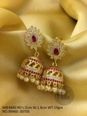 American Diamond Jhumki with semi precious stone