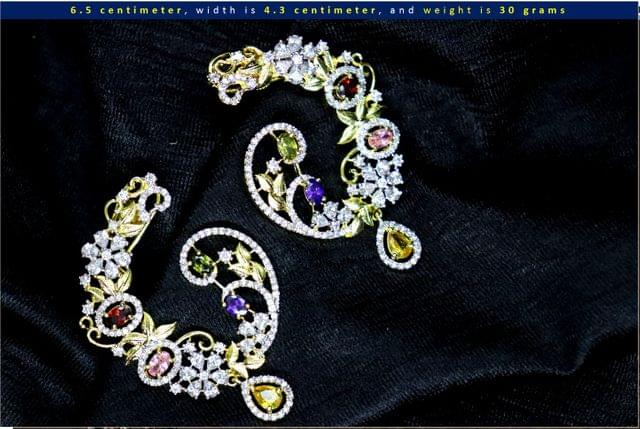 American Diamond Dangler with semi precious stones- 1 year warranty