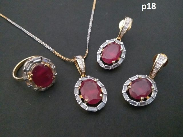 American Diamond Pendant Set with earring and finger ring. It has an year warranty