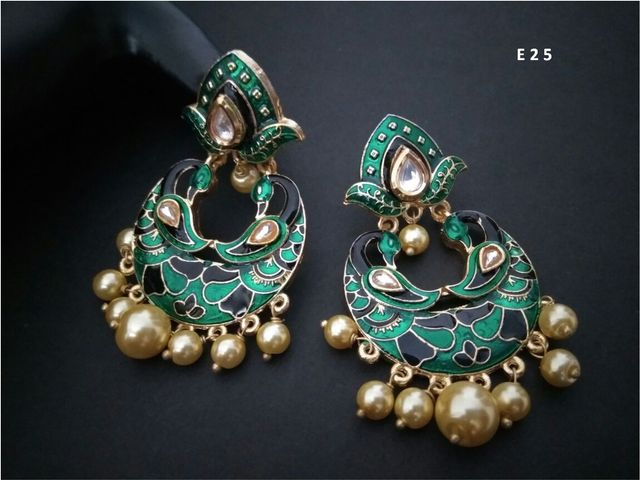 Brass earring with Peacock Design. High Class Hand-painted