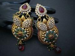 Beautiful Gold Plated earrings with semi precious stones and pearls