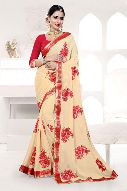 Knitted Georgette  Saree With Art Silk Blouse and Thread Embroidery With Pearl Work And Jewled Border