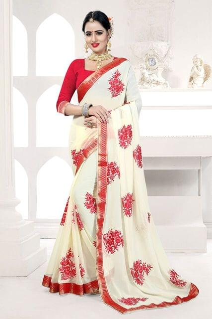 Georgette & Silk Saree Art Silk & Net Blouse and  Jari & Thread Embroidery With Coding Work