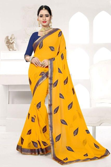 Silk & Net Saree Brocade & Net Blouse and  Fancy Lace Border