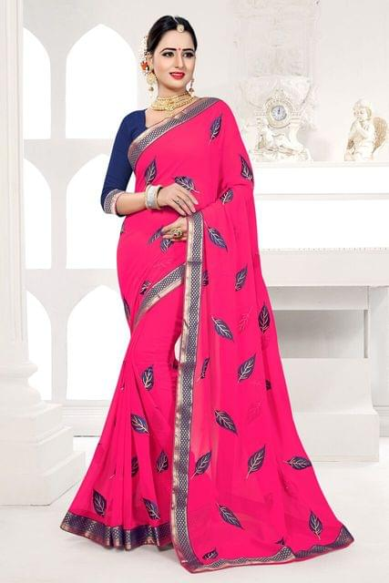 Georgette Saree Art Silk Blouse and  Jari & Thread Embroidery With Coding Work
