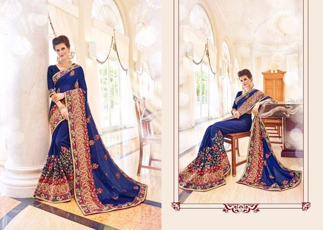 Georgette  Saree with Velvet Blouse and Thread Embroidery With Stone Work