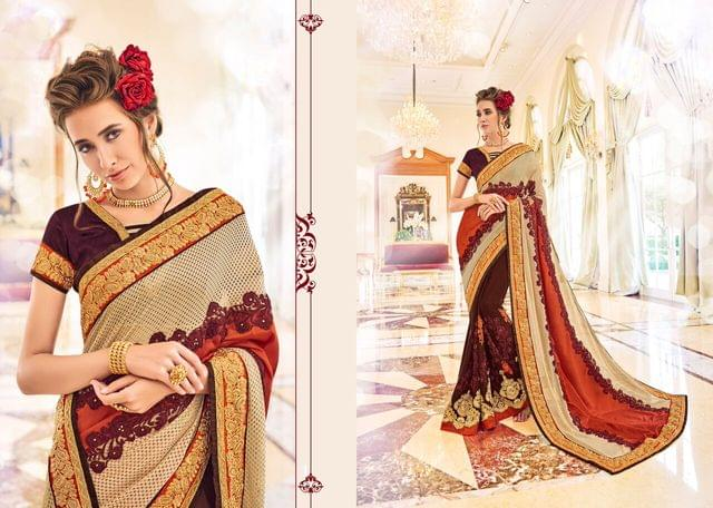 Knitted Net & Net Saree with Art Silk Blouse and Jari & Coding Embroidery With Pearl Work