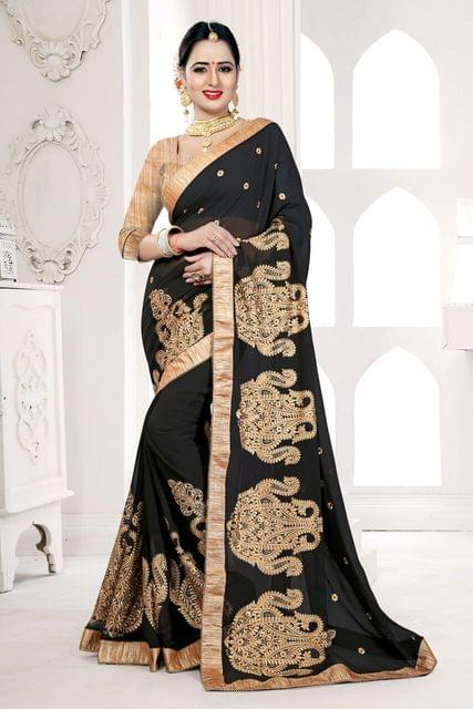 Chiffon Saree Art Silk & Net Blouse and   Jari & Thread Embroidery With Patch Work