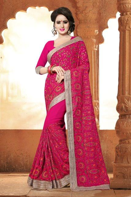 Chiffon & Georgette Saree with Art Silk & Net Blouse and Thread & Jari Embroidery