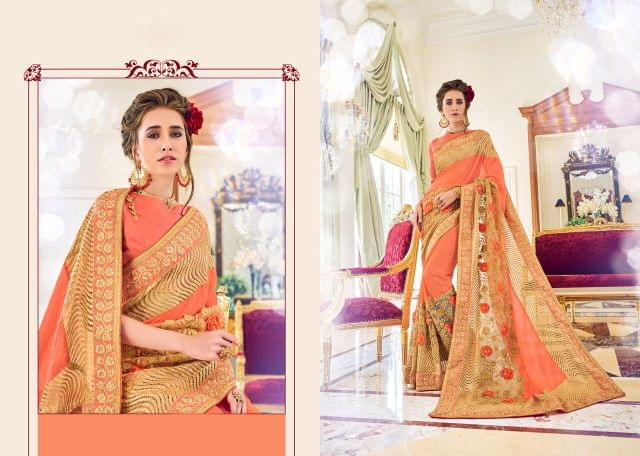 Power Net Saree with Art Silk Blouse and Thread Embroidery With Pearl Work