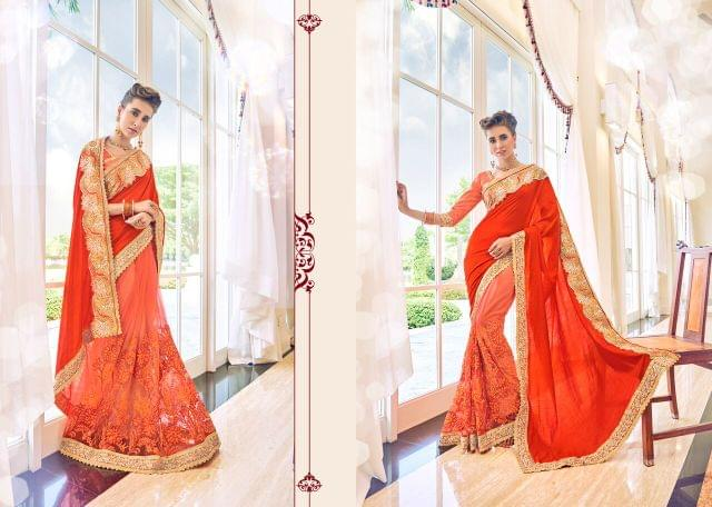 Jacquard Georgette Saree with Art Silk & Net Blouse and Thread Embroidery