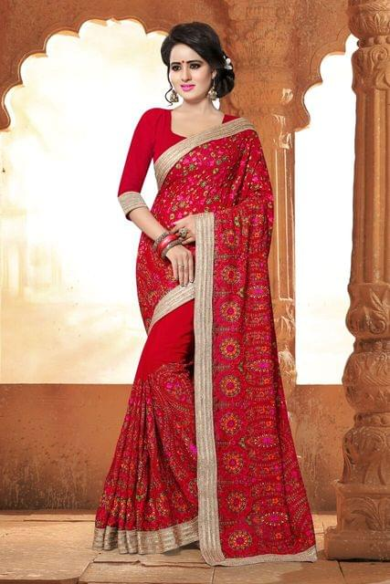 Chiffon Saree with Silk Blouse and Stone Work & Foiling