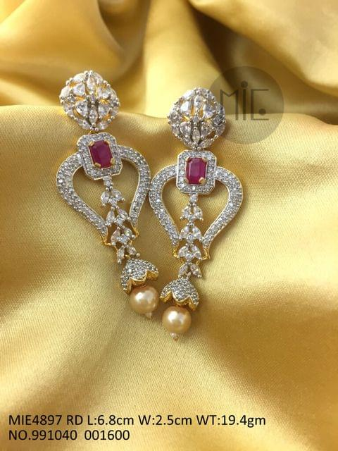 High Class Dangler made of American Diamond and Precious Stone- Red Stone