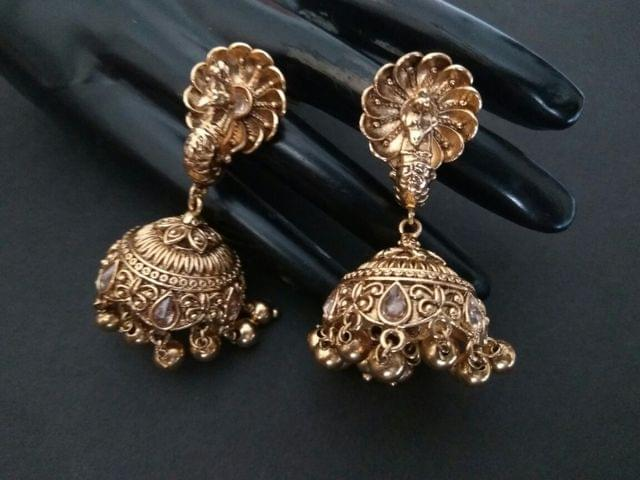Brass+ Gold Plated Jhumki with an year warranty