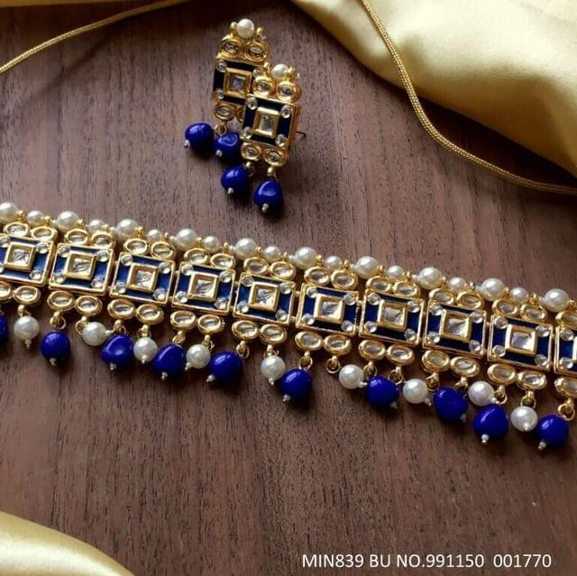 Kundan Necklace + Pair of Natural stone earrings. with an year warranty