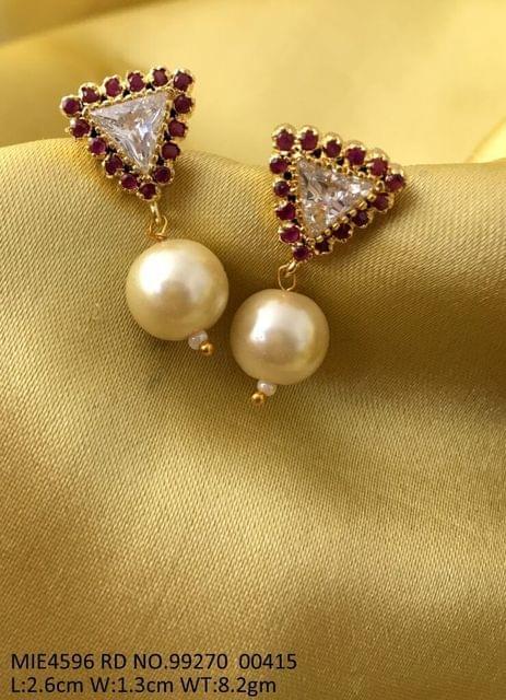 Brass+ American Diamond + Pearl Jhumki