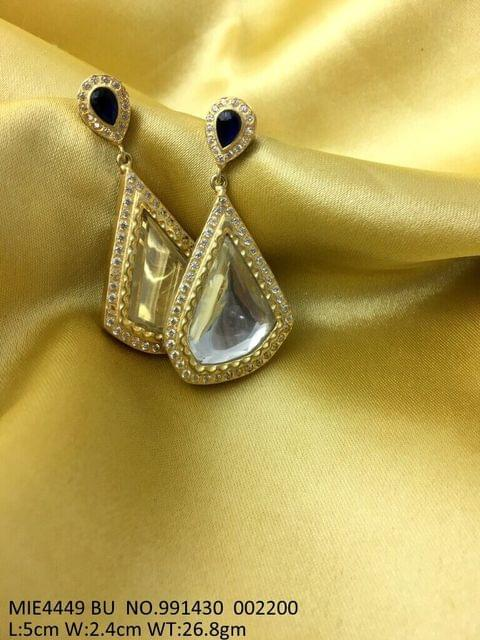 Gold plating earring with brass and silver metal, with Kundan Stones