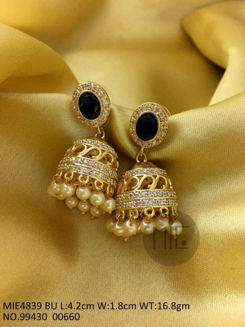Brass + Amercian Diamond Jhumki with an year warranty