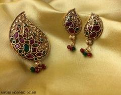 Gold plated American Diamond Pendant set with beautiful pair of earrings