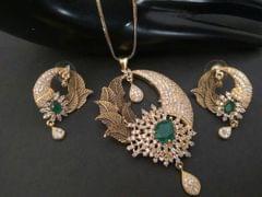 Brass + American Diamond + Semi Precious Stone Pendant set with couple of beautiful earrings