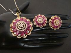 American Diamond + Semi Precious Stone Pendant set with couple of beautiful earrings