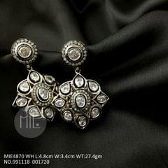 Victorian style silver plated, American Diamond Earrings with an year warranty