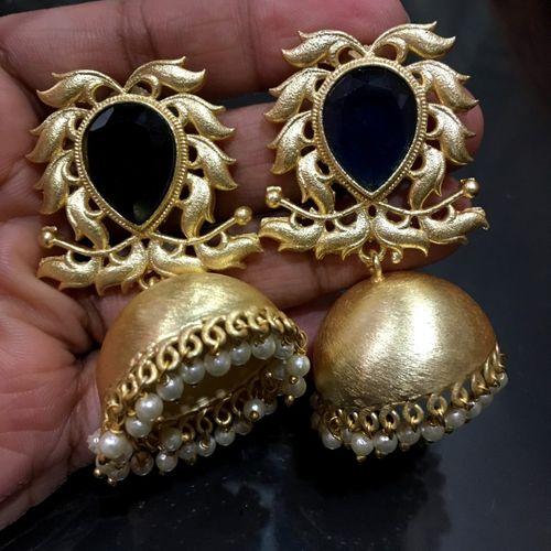 Brass+ Semi precious stone jhumki with an year warranty