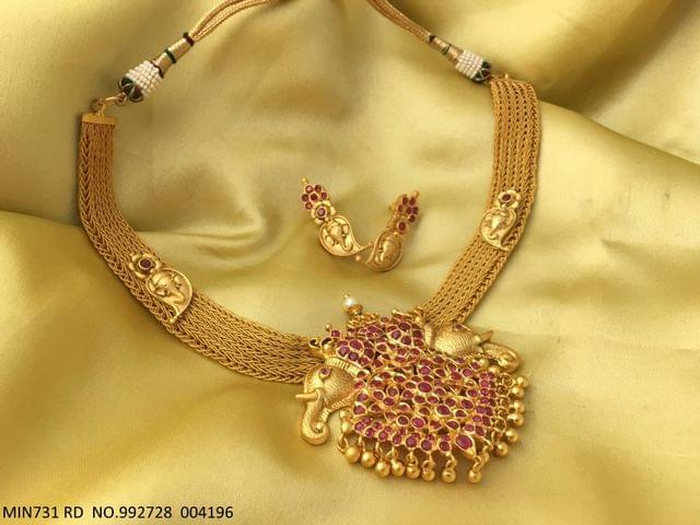 Brass + Gold plated Necklace set with an year warranty