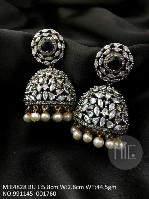 Brass Jhumki with American Diamond Stone and Victorian plating