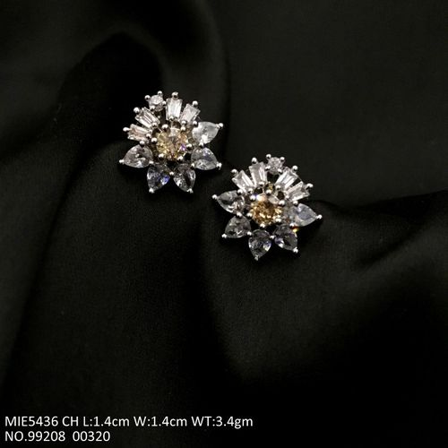 Beautiful American Diamond Studs with an year warranty -- 1.4 centimeters in length and width is 1.4 centimeters
