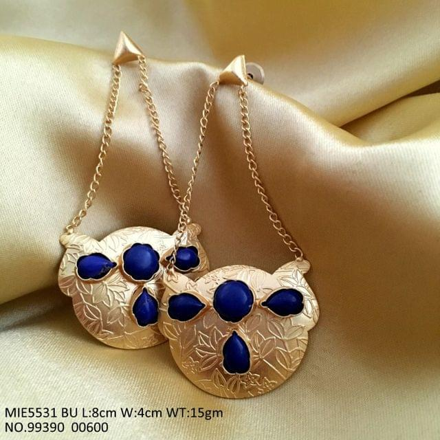 Gold plated earring with semi precious stones on brass metal